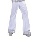 Pantalon disco pattes d'eph blanc et argent