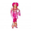 Hippie fille rose avec chapeau